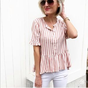 Madewell Tops - Pink Striped Top